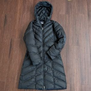 Patagonia black down with it goose down parka XS